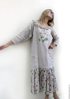 """Купить Льняное платье """"Гербарий 3"""" - бежевый, цветочный, платье, платье летнее, платье в пол"""