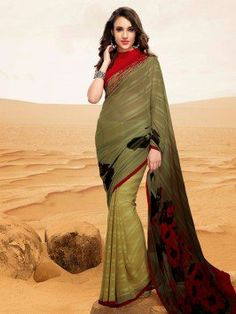 Cream And Green Georgette Saree With Print Work
