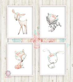 4 Deer Fox Bunny Rabbit Raccoon Boho Printable Print Wall Art Woodland Mint Blush Pink Bohemian Floral Nursery Baby Girl Room Set Lot Prints Decor