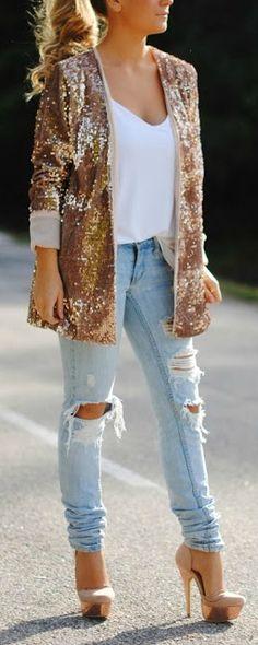 Gold Glitter Blazer + Shredded Denim