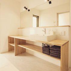 サンワカンパニーのある暮らし|サンワカンパニー in 2019 Bad Inspiration, Bathroom Inspiration, Grey Room, Home Hacks, Modern Interior Design, Room Interior, Double Vanity, Toilet, New Homes