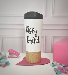 Glitter Dipped Coffee Travel Mug  Rise and Grind  by SipandDazzle