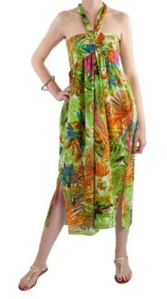 Maxi Summer Dress Halter Neck - Tropical Print (Green S/M) likemary. $37.00
