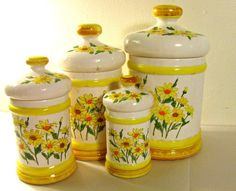 vintage canisters - daisies - ceramic - Sears Roebuck - set of 4 - 1970s