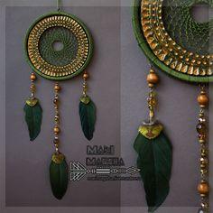 """Купить Ловец снов """"Этно"""" - зеленый, оливковый, ярко-зелёный, золотой цвет, ловец снов"""