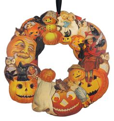 """Check out """"Vintage Image Halloween Wreath"""" by Primitives by Kathy at Traditions! Traditions is a year-round family owned holiday store that's been in business for over twenty years ~ Retro Halloween, Halloween Frames, Halloween Scarecrow, Vintage Halloween Decorations, Halloween Displays, Halloween Haunted Houses, Halloween Season, Halloween 2020, Halloween Wreaths"""