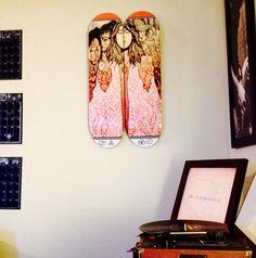 Led Zeppelin Limited Edition Double Hanging Skateboard Set. Assorted Skateboard Art and Furniture. #skateboardart #skaboardfurniture #skateart #skateboarddecor #skatedecor https://www.redwoodskateboardart.com/products/stairway-to-heaven-double-set
