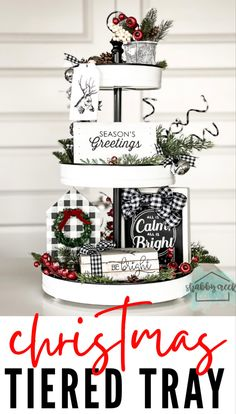 Create your own beautiful black & white buffalo check tiered tray decor with these fun, easy, budget-friendly ideas! #christmasdecor #buffaloplaid #christmasideas #farmhousechristmasdecor Plaid Christmas, Christmas Crafts, Christmas Decorations, Holiday Decor, Buffalo Plaid, Farmhouse Christmas Decor, Tray Decor, Diy Home Crafts, Buffalo Check