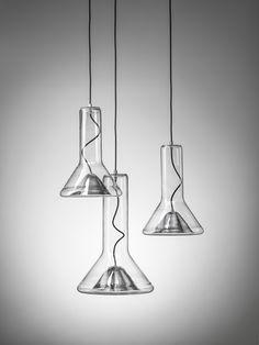 White Interior - Brokis lights - Chrome WHISTLE is hanging light. Design by Lucie Koldova.