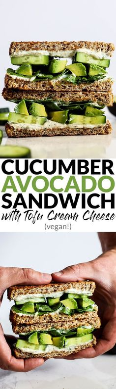 Vegan Cucumber Avocado Sandwich & Tofu Cream Cheese!!! - Low Recipe