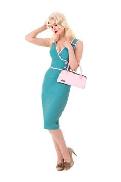 Glamour Bunny :  I love this cute little number teamed with the Glamour Bunny pastel pink handbag       http://www.glamourbunny.co.uk/dresses/retro-dress--pinup-dress-rockabilly-dress-pinup-clothing-pinupgirl-mad-men-dress-glamour-bunny-constance-teal