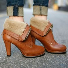 British Style Thick High-heeled Round Toe Martin Boots