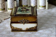 шкатулка 2 - бежевый,золото,шкатулка для украшений,шкатулка декупаж,шкатулка для мелочей