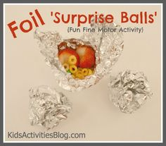 Treats for Kids: Foil 'Surprise Balls' Preschool Snacks, Activities For Kids, Crafts For Kids, Preschool Cooking, Summer Crafts, Cute Snacks, Cute Food, Toddler Snacks, Lol
