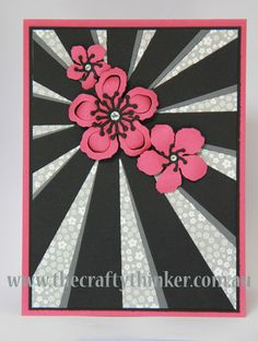 handmade card from The Crafty Thinker: Sunburst thinlit die and Botanical Blooms . black and white with pink flowers . Stampin' Up! Botanical Flowers, Pink Flowers, Botanical Gardens, Potpourri, Stamping Up Cards, Flower Cards, Greeting Cards Handmade, Scrapbook Cards, Homemade Cards