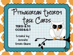 Pythagorean Theorem Task Cards- A perfect activity for students to use the Pythagorean Theorem to find the length of a missing side of a triangle.