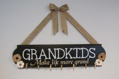 GRANDKIDS Sign - Grandchildren Sign -  Make Life More Grand - Painted Wood Sign - Burlap Flower Sign - Mothers day gift - Grandparents Gift by JCWShop on Etsy
