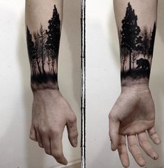 Forearm is one of the most popular place to get tattoos. Forearm tattoos are visible and you have great chance to showing off. And also they are easy to be concealed. Forearm tattoo designs are loved both by men and women, especially for men. Wrist Tree Tattoo, Forest Tattoo Sleeve, Forest Forearm Tattoo, Tree Tattoo Men, Forest Tattoos, Wrist Tattoos For Guys, Forearm Tattoo Design, Tattoos For Women, Mens Wrist Tattoos