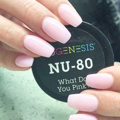 A soft hue of pink nail color dip powder.