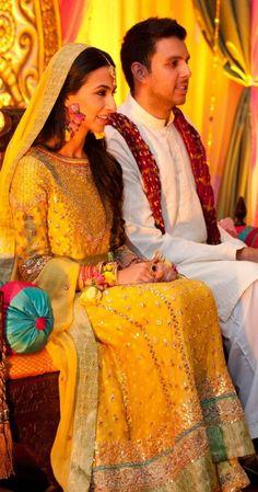 Bright Yellow colored Mehndi Frock Pakistani - Stylespoint.com   Stylespoint.com