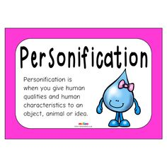 Teach your class the meaning of personification with fun examples in this unique resource! English Idioms, English Grammar, Primary Resources, Teaching Resources, Idioms Activities, English Posters, Figure Of Speech, Figurative Language, Eyfs