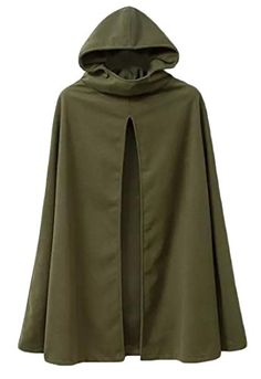 5c2ce5d07ff5 XQS Womens Casual Pure Color Poncho Jacket Trench Coat With Hooded 1 L  Hooded Cloak