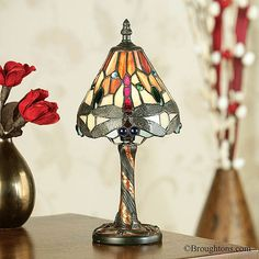 Interiors 1900 Red Dragonfly Tiffany Mini Table Lamp: A stunning mini table light with the iconic Tiffany Dragonfly design in vibrant oranges and reds Tiffany Table Lamps, Light Table, Art Deco Fashion, Mini, Glass Beads, Wall Lights, Lighting, Interiors, Design