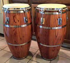 Vintage 1970's Ash Skin On Skin (SOS) Conga Drums... (refinished by Angel Roldan - Conga MD)