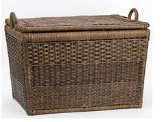 Hand-woven natural rattan and featuring a removable cotton liner, this elegant basket can be used for toy storage, as a log basket or entryway storage. Storage Baskets With Lids, Lid Storage, Storage Ideas, Lift Off, Weave Styles, Wicker Baskets, Woven Baskets, Wicker Trunk, Rustic Industrial