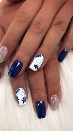 Blue Gel Nails, Navy Nails, Plaid Nails, Blue Acrylic Nails, Pink Nails, White Nails, Blue Nail Designs, Acrylic Nail Designs, Beach Nail Designs