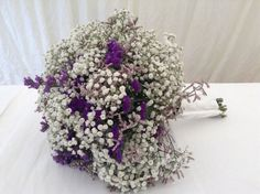 Purple Wedding Flowers how do you feel about babys breath bridal bouquet of white gyp and purple statice kelsey Gypsophila Wedding Bouquet, Lavender Wedding Centerpieces, Purple Wedding Bouquets, Bride Bouquets, Flower Bouquet Wedding, Bridesmaid Bouquet, Bridesmaids, Wisteria Wedding, Baby's Breath