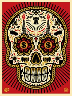 'Power & Glory Day of the Dead Skull' by Shepard Fairey & Ernesto Yerena on sale 10/31 at Obey Giant.