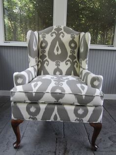 Lately, I'm drawn to gray...Accent Chair - Grey Ikat. $550.00, via Etsy.