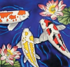 """Koi Fish - Decorative Ceramic Art Tile - 8""""x8"""" by entiles.com. $27.99. Hand crafted art tile, then kiln-fired at high temperature, brilliantly colored, with complex glazes and unique textures. Backing is removable enabling the tile to be installed as a standard tile. LICENSED WORLDWIDE image approved by artist. We make every effort to process your order within 24 hours & FREE Gift Box Included with purchase. Hang on the wall or display using the built-in easel / (use or)Til..."""