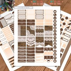 Wood and Lace, Printable Planner Stickers, Weekly/Monthly Kit, Erin Condren…