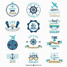 Traveling and sailing logos Free Vector Logos, Typography Logo, Lettering, Retro Vector, Vector Free, Web Design, Logo Design, Sailing Logo, Travel Logo