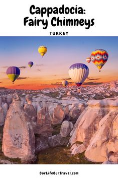 This contains: turkey cappadocia hot air balloon ride in goreme above the fairy chimneys Brazil Travel, Asia Travel, Solo Travel, Balloon Rides, Air Balloon, Top Travel Destinations, Budget Travel, Travel Tips, Cappadocia Balloon
