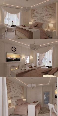 Cozy Romantic Bedroom Design Ideas For Comfortable Bedding - Master Bedroom - Bedroom Bedding Master Bedroom, Cozy Bedroom, Home Decor Bedroom, Bedroom Ideas, Bedroom Designs, Bedroom Wall, Bedroom Furniture, Furniture Ideas, Bed Room