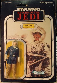 "A carded Han Solo (with Hoth Battle Gear) action figure from Kenner's ""Star Wars"" toy line"