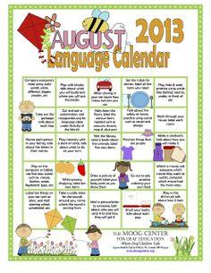 HearSayLW: AUGUST: Listening and Spoken Language Calendar