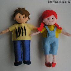 Patrones de fieltro para hacer muñecos.