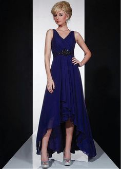 Charming Chiffon A-line V-Neckline Hi-lo Mother Dress in Fashion Design