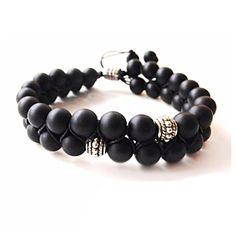 Items similar to Black Shamballa Men Bracelet, Men Jewelry, Double Bracelet on Etsy
