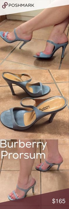 """BURBERRY blue gray HEELS 9.5 strappy sandals slide Gorgeous BURBERRY heels! Beauty in simplicity! Slides stilettos (4"""" heel) in a blue gray LEATHER. Sexy, comfortable and very wearable color..! Made in ITALY. Size 39.5, fits 9.5 (Footbed is 10.5"""" long). . Burberry Prorsum is the most expensive /high end / runway couture of all the Burberry brands. A must for a fashionista..! (S23) Burberry Shoes Heels"""