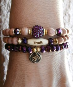 Set of 3 Yoga bracelets Om Breath bead by LifeForceEnergy on Etsy, $29.00