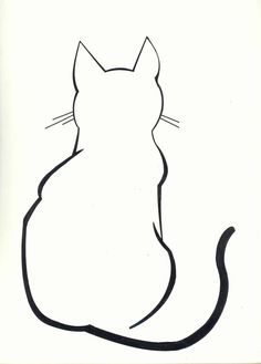 Ideas For Tattoo Cat Silhouette Illustrations Silhouette Chat, Silhouette Drawings, Cat Silhouette Tattoos, Silhouette Images, Cat Outline Tattoo, Tattoo Gato, Cat Tattoos, Animal Drawings, Art Drawings