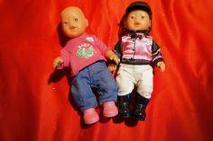 "2 Zapf CreationMy Mini Baby Born 6"" dolls Jockey /Horse Riding Outfit & friend #ZapfCreation"