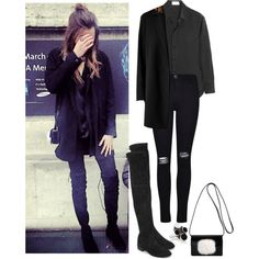Eleanor Calder//Instagram by getxthexlook on Polyvore featuring Yves Saint Laurent, AllSaints, Frame Denim, Stuart Weitzman, GetTheLook, eleanorcalder and instagram
