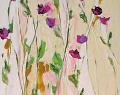 Original pintura pintura de flor de arte abstracto por LindaMonfort