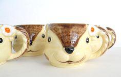 Set of 4 Vintage Ceramic Squirrel Mugs 1979 by MissBettysAttic